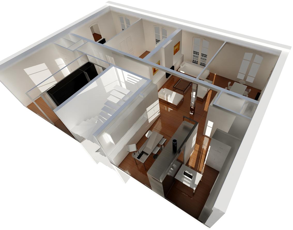 2008 duplex paris pascal maillefaud architecte - Plan de salle d eau ...