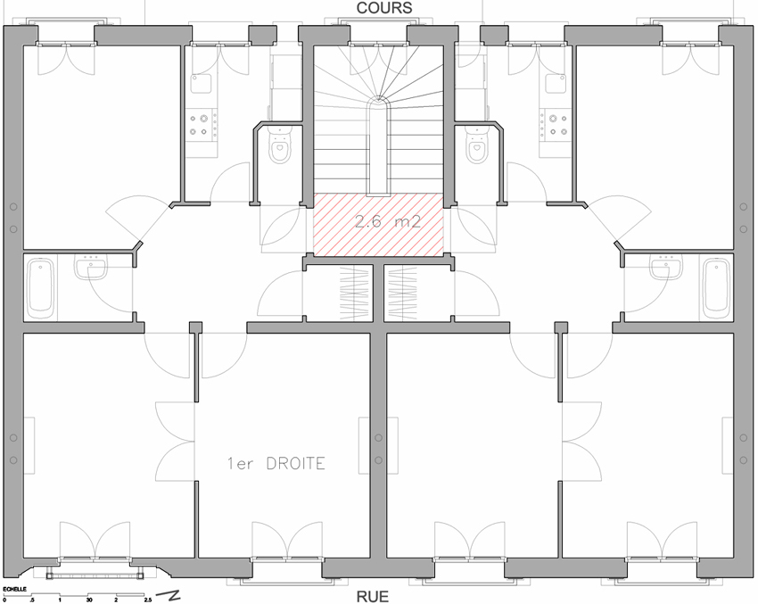 plan d'un appartement haussmannien