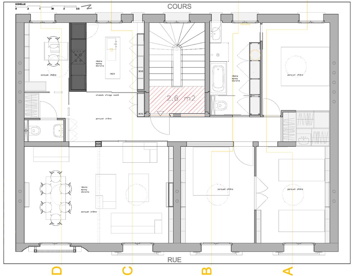 2008 duplex paris pascal maillefaud architecte. Black Bedroom Furniture Sets. Home Design Ideas
